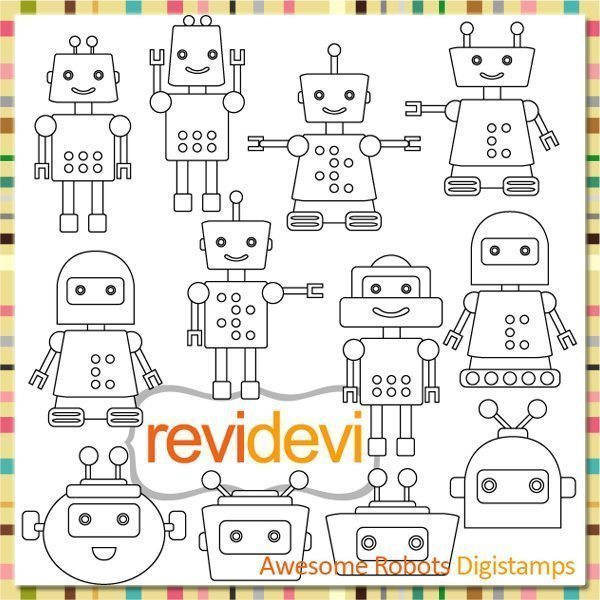 Awesome Robots Stamps  Revidevi    Mygrafico