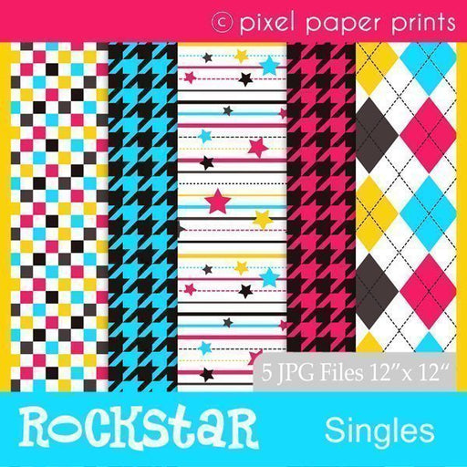 Rockstar Digital Papers  Pixel Paper Prints    Mygrafico