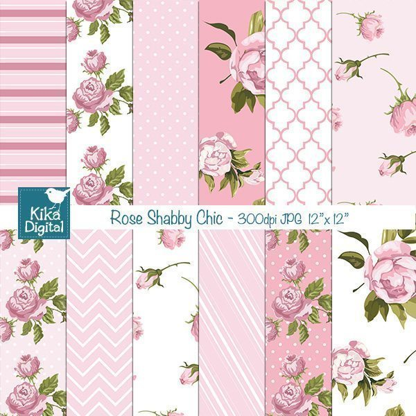 Rose Shabby Chic Papers  Kika Digital    Mygrafico
