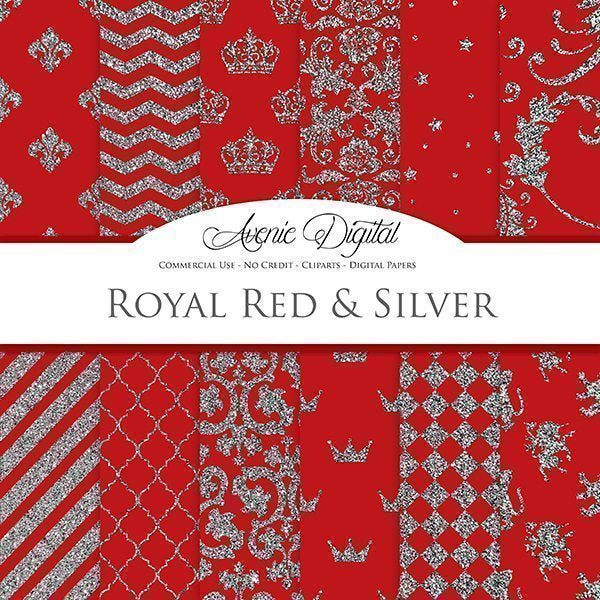 Royal Red and Silver Digital Paper  Avenie Digital    Mygrafico