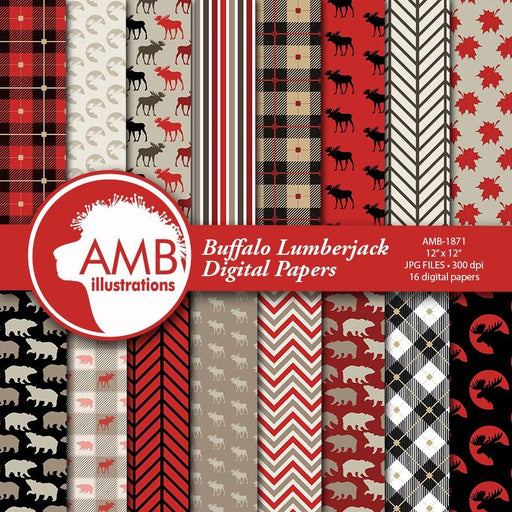 Lumberjack digital paper, lumberjack scrapbook paper, rustic digital paper, plaid, gingham, buffalo,moose paper, instant download, AMB-1871 Digital Paper & Backgrounds AMBillustrations    Mygrafico