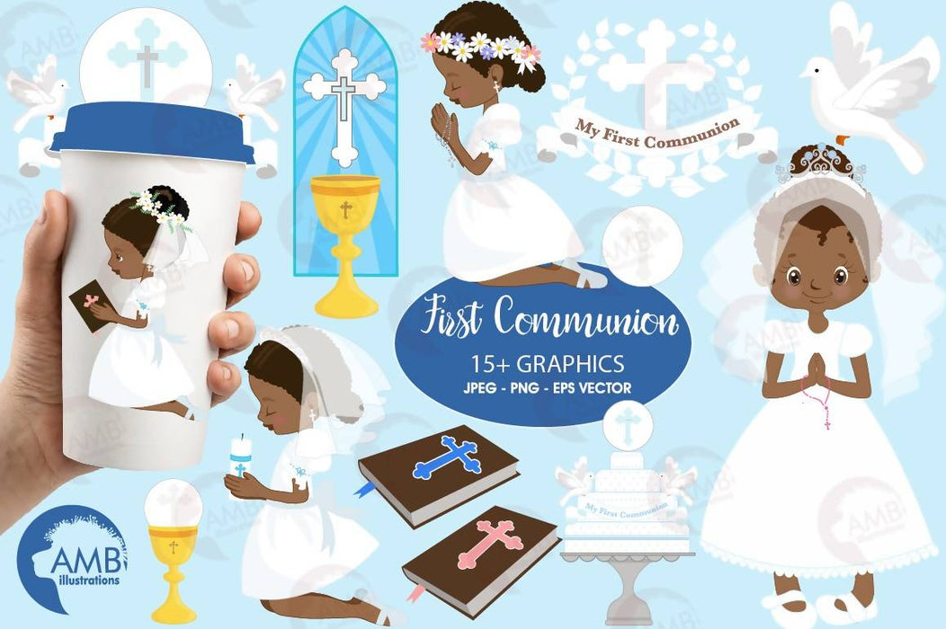 First communion clipart, Christian clipart, African American, Bible, rosary, create invitations & crafts, commercial use, AMB-1917 Cliparts AMBillustrations    Mygrafico
