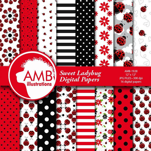 Ladybug digital papers, Red ladybug papers, Insects, Sweet ladybug papers, polkadot paper, ladybug scrapbook papers, comm-use, AMB-1928 Digital Paper & Backgrounds AMBillustrations    Mygrafico