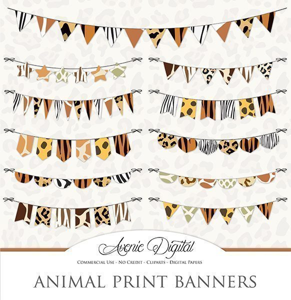 Animal Print Cliparts - Bunting Banners  Avenie Digital    Mygrafico
