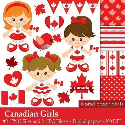 Canadian Girls - Canada Day Clipart & Digital Papers  Pixel Paper Prints    Mygrafico