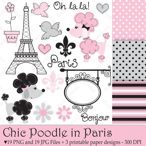 Chic Poodle in Paris  Pixel Paper Prints    Mygrafico