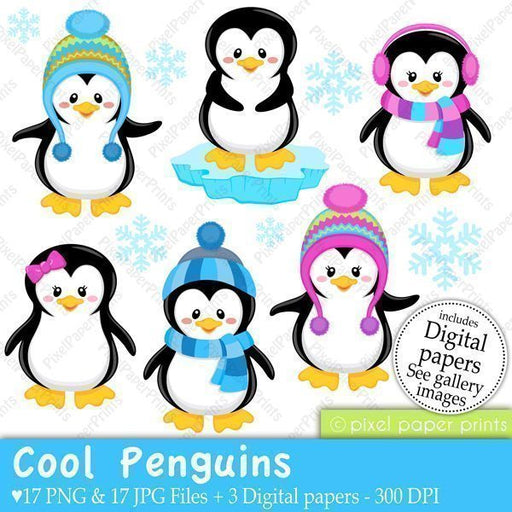 Cool Penguins  Pixel Paper Prints    Mygrafico