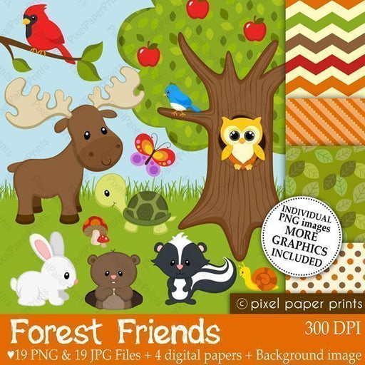 Forest Friends Clipart and Digital Papers  Pixel Paper Prints    Mygrafico