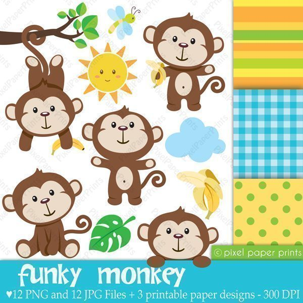 Funky Monkey Clipart & Digital Papers  Pixel Paper Prints    Mygrafico