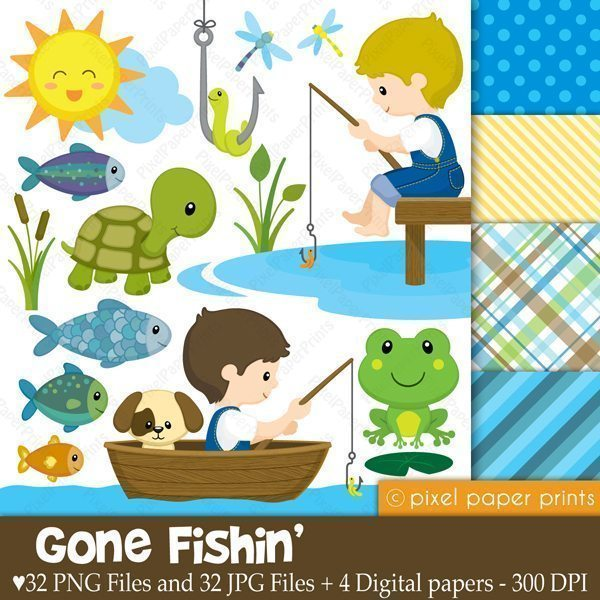 Gone Fishing Clipart & Digital Papers  Pixel Paper Prints    Mygrafico