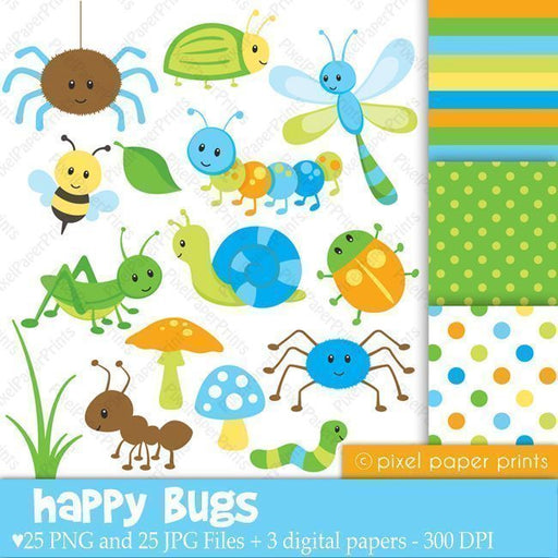 Happy Bugs Clipart & Digital Papers  Pixel Paper Prints    Mygrafico