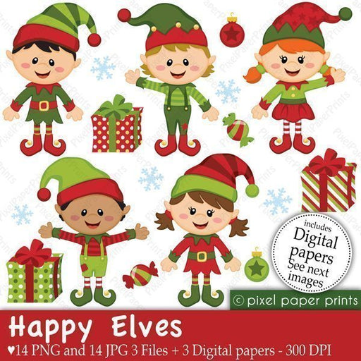 Happy Elves  Pixel Paper Prints    Mygrafico
