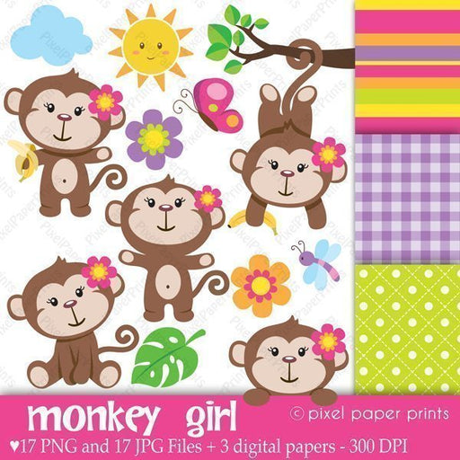 Monkey Girl  Pixel Paper Prints    Mygrafico