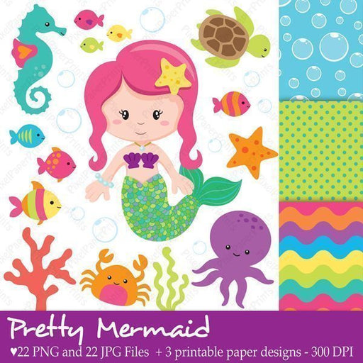 Pretty Mermaid Clip art and Digital paper set  Pixel Paper Prints    Mygrafico