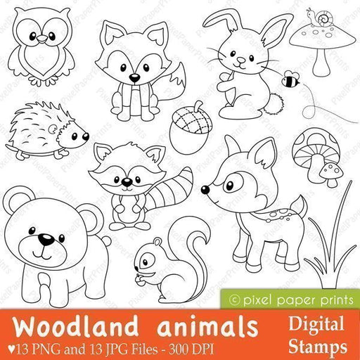 Woodland Animals Digital Stamps  Pixel Paper Prints    Mygrafico