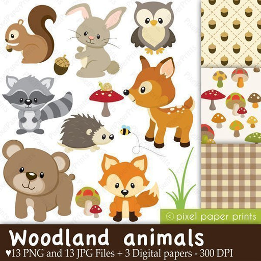 Woodland Animals Clip art and Digital paper set  Pixel Paper Prints    Mygrafico