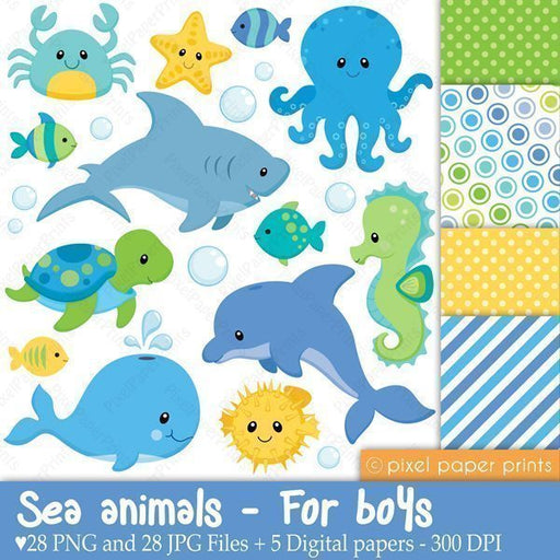 Sea Animals for Boys Clipart & Digital Papers