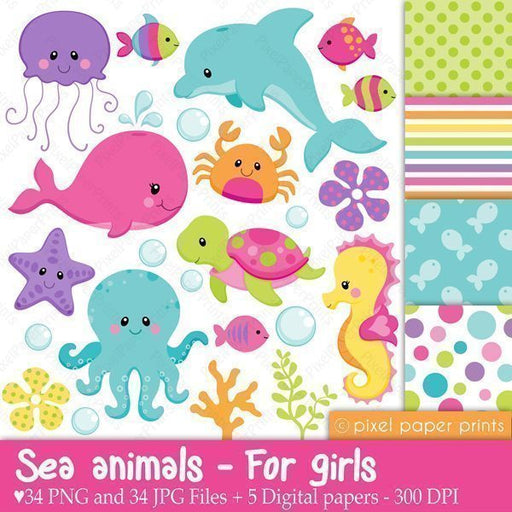 Sea Animals for Girls  Pixel Paper Prints    Mygrafico