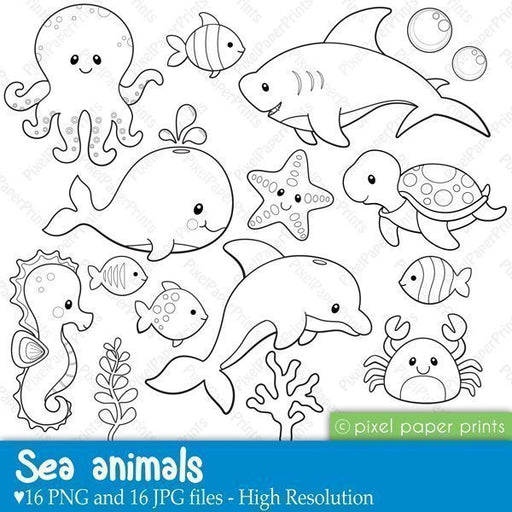 Sea Animals - Digital stamps