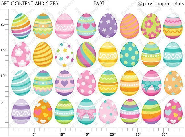 Easter Eggs Clipart & Digital Papers  Pixel Paper Prints    Mygrafico