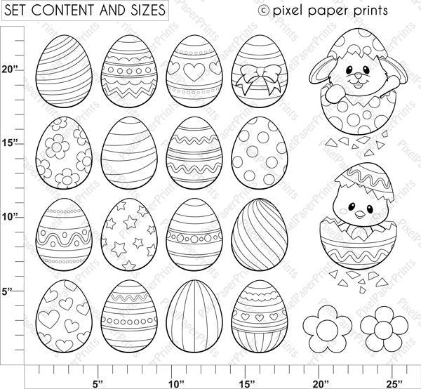 Easter Eggs Digital Stamps  Pixel Paper Prints    Mygrafico
