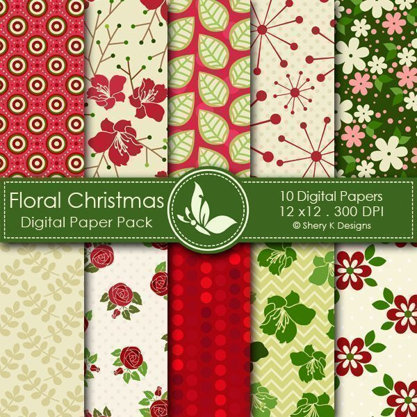 Floral Christmas - 10 Digital papers  Shery K Designs    Mygrafico