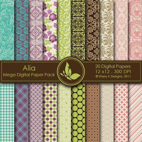 Alia - 20 Digital papers  Shery K Designs    Mygrafico