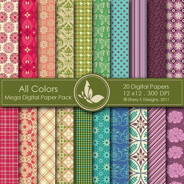 All Colors - 20 Digital papers  Shery K Designs    Mygrafico