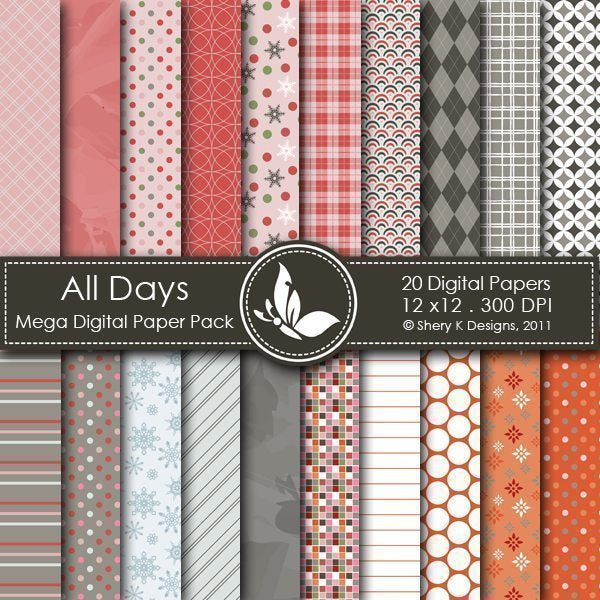 All Days - 20 Digital papers  Shery K Designs    Mygrafico
