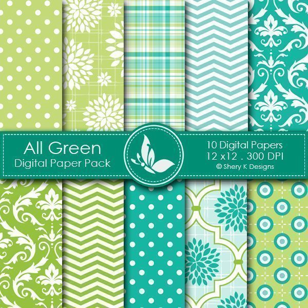 All Green - 10 Digital papers  Shery K Designs    Mygrafico