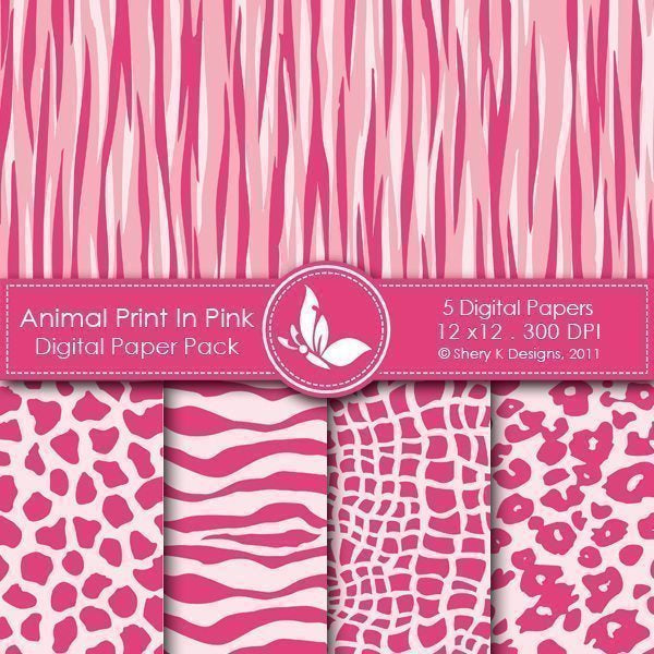 Animl Print In Pink - 5 Digital papers  Shery K Designs    Mygrafico