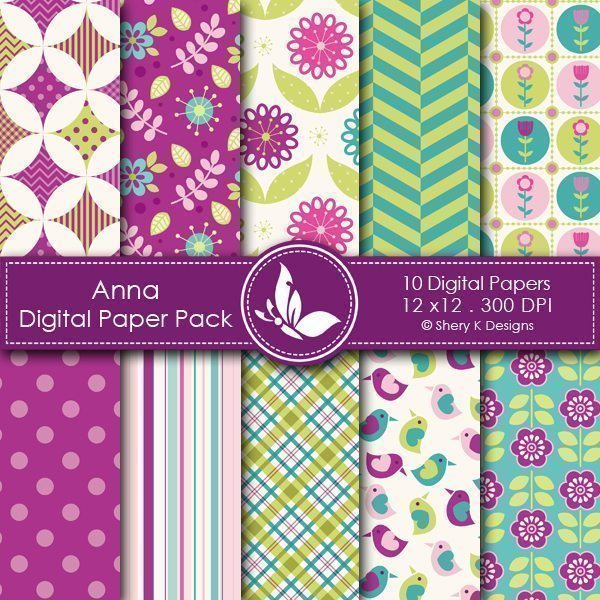 Anna - 10 Digital papers  Shery K Designs    Mygrafico