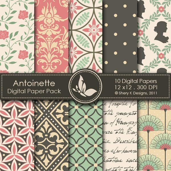 Antoinette - 10 Digital papers  Shery K Designs    Mygrafico