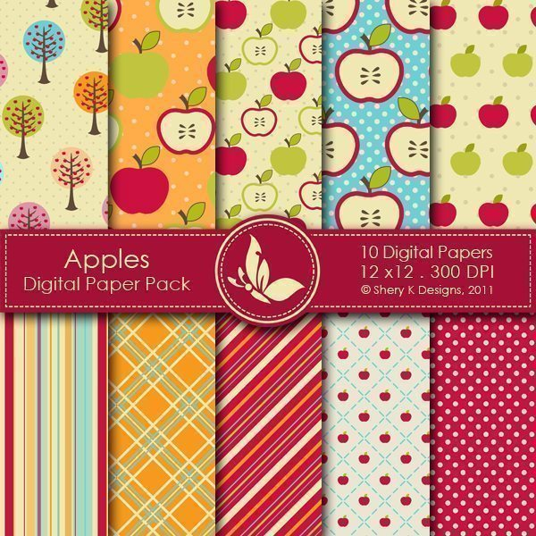 Apples  - 10 Digital papers  Shery K Designs    Mygrafico