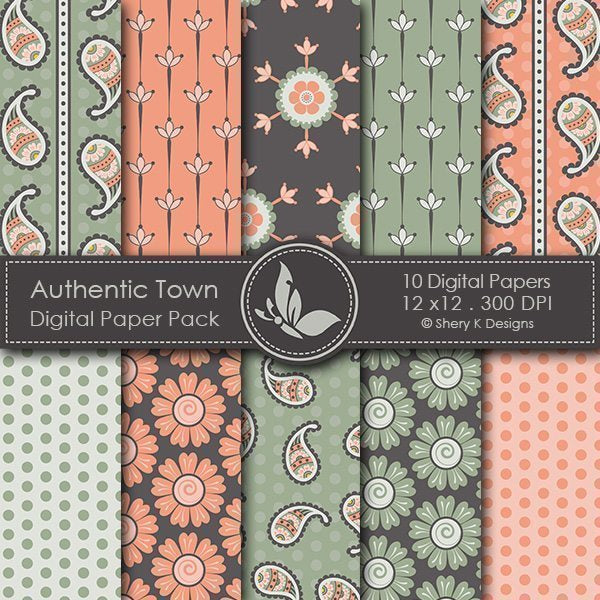 Authentic Town Digital Papers  Shery K Designs    Mygrafico