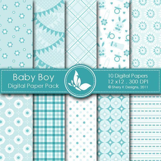 Baby Boy - 10 Digital papers  Shery K Designs    Mygrafico