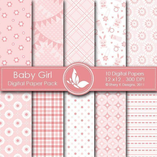 Baby Girl - 10 Digital papers  Shery K Designs    Mygrafico