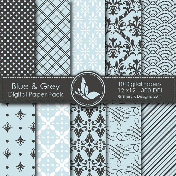 Blue & Grey - 10 Digital Papers  Shery K Designs    Mygrafico