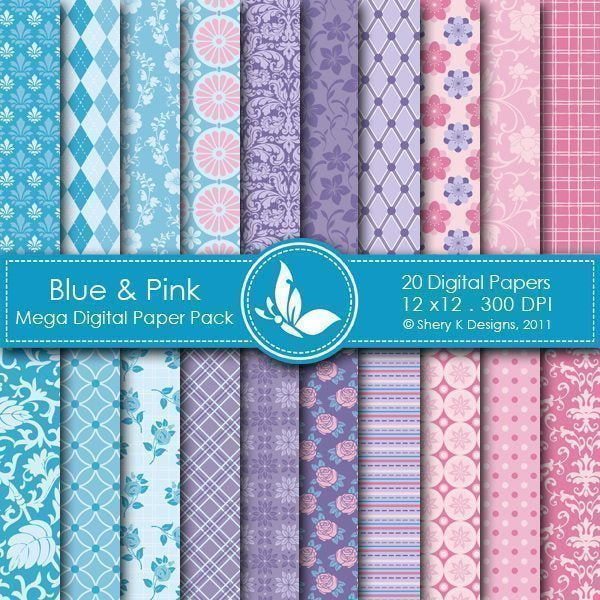 Blue & Pink - 20 Digital papers  Shery K Designs    Mygrafico
