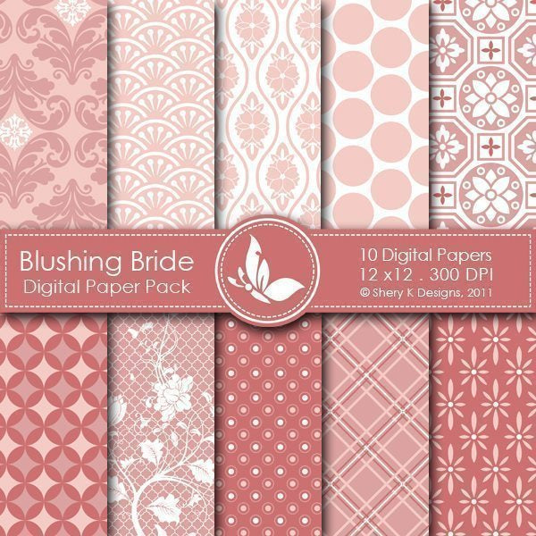 Blushing Bride - 10 Digital papers  Shery K Designs    Mygrafico