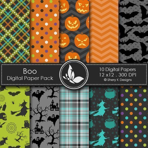 Boo  - 10 Digital papers Digital Papers & Background Shery K Designs    Mygrafico