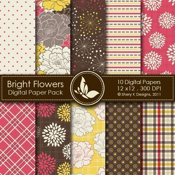 Bright Flowers - 10 Digital papers  Shery K Designs    Mygrafico