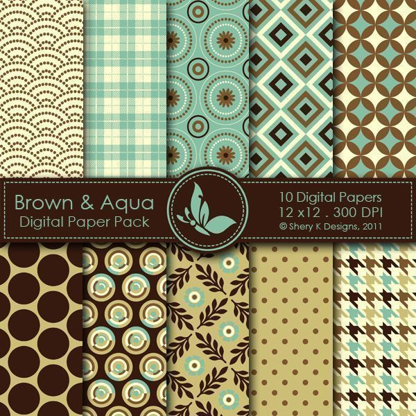 Brown & Aqua - 10 Digital papers  Shery K Designs    Mygrafico