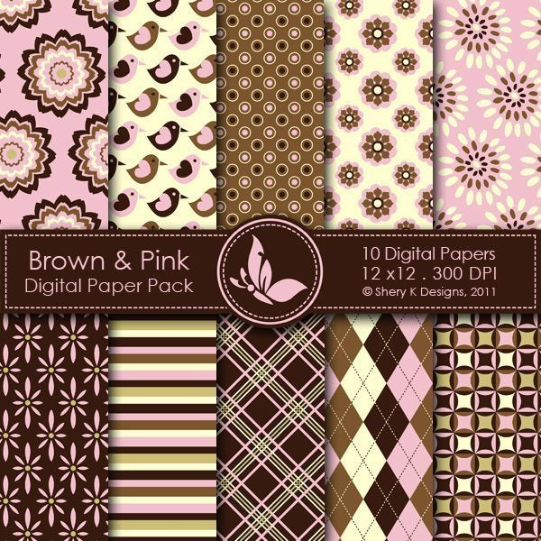 Brown & Pink - 10 Digital papers  Shery K Designs    Mygrafico