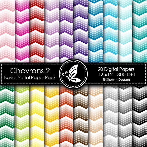 Chevrons Basic Digital Paper Pack  Shery K Designs    Mygrafico