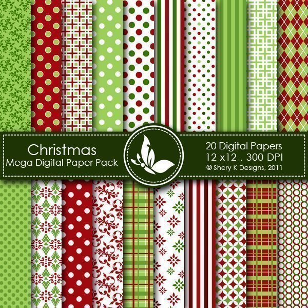 Christmas - 20 Digital papers  Shery K Designs    Mygrafico