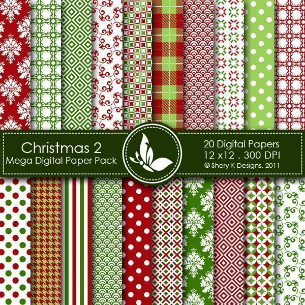 Christmas 2 - 20 Digital papers  Shery K Designs    Mygrafico