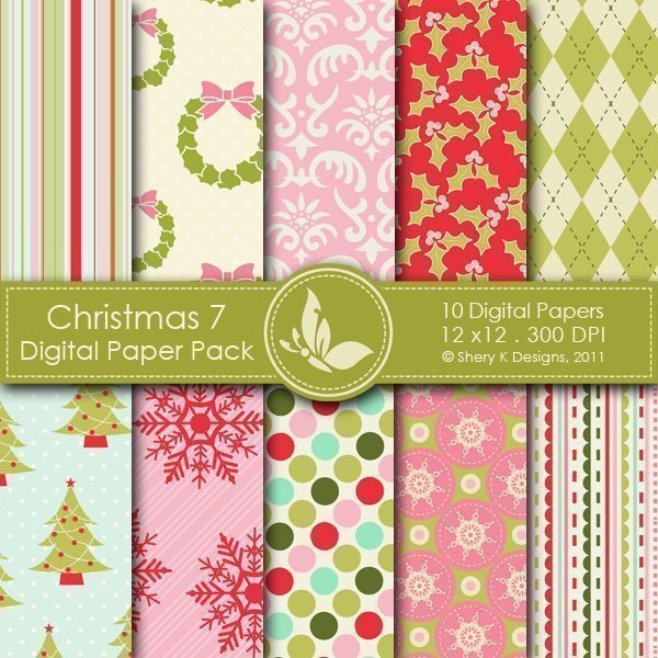 Christmas 7 - 10 Digital papers  Shery K Designs    Mygrafico