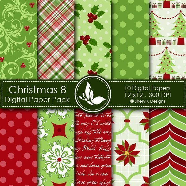 Christmas 8 - 10 Digital papers  Shery K Designs    Mygrafico