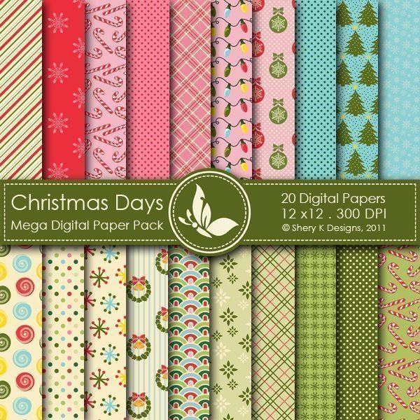 Christmas Days - 20 Digital papers  Shery K Designs    Mygrafico